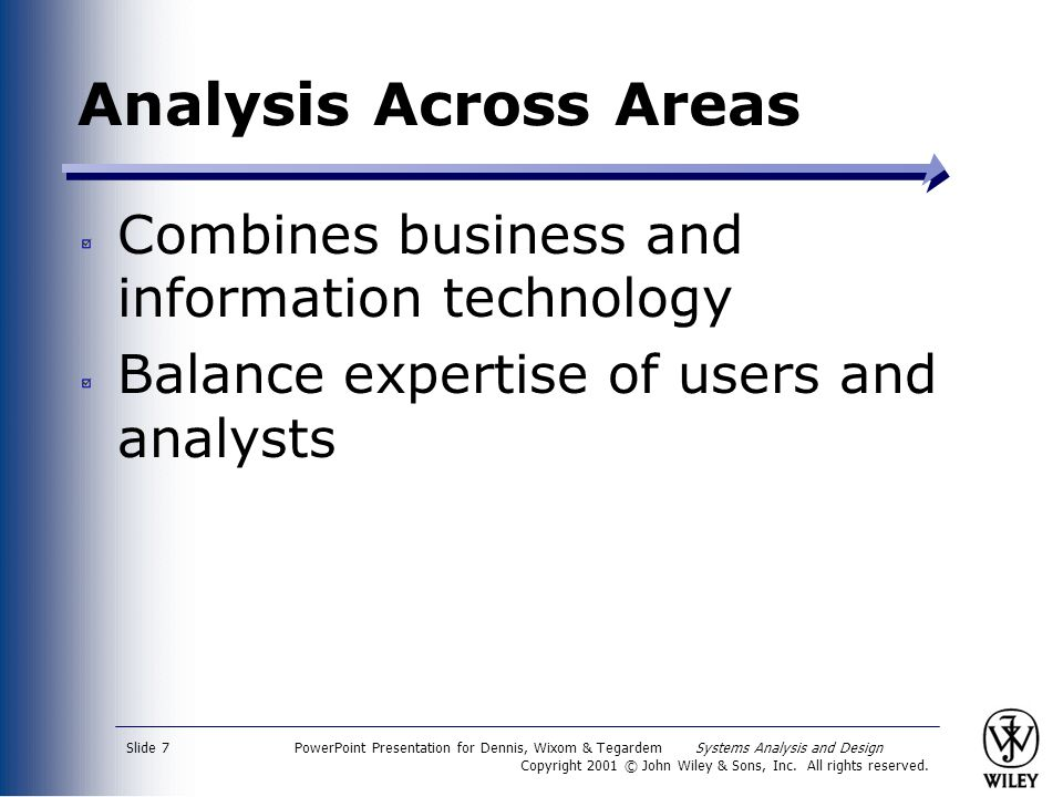 Analysis Across Areas Combines business and information technology