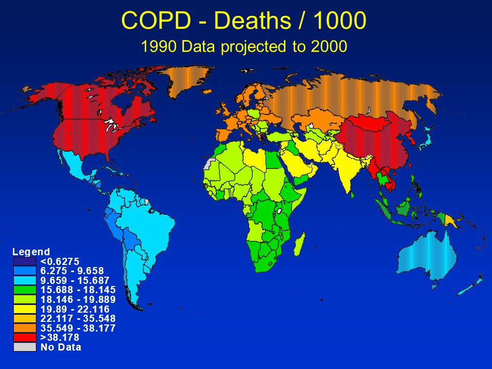 COPD - Deaths / Data projected to 2000 L e g n d < . 6 2
