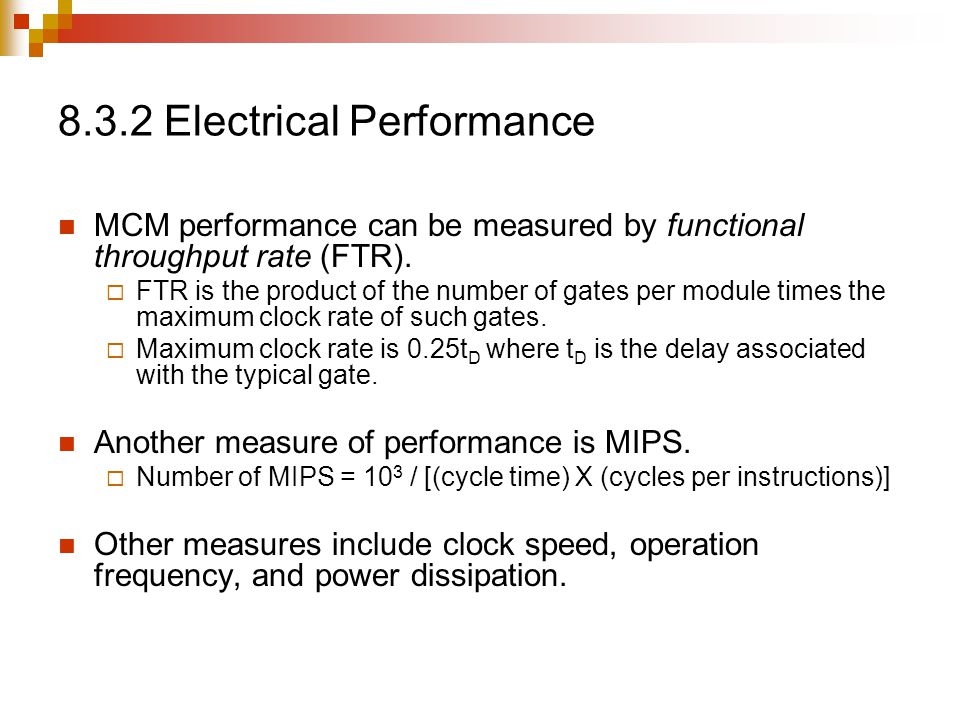 8.3.2 Electrical Performance