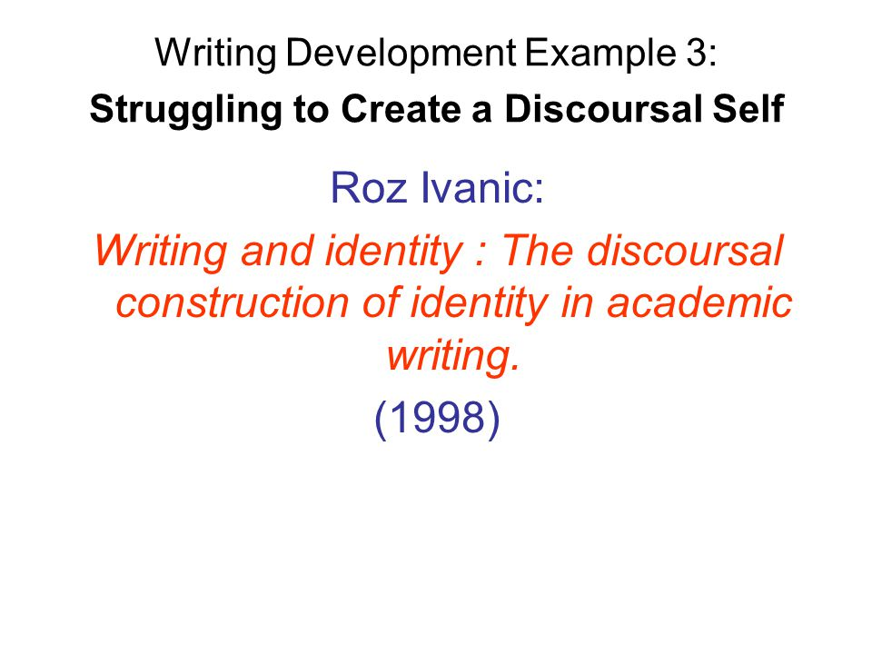 writing and identity the discoursal construction paper