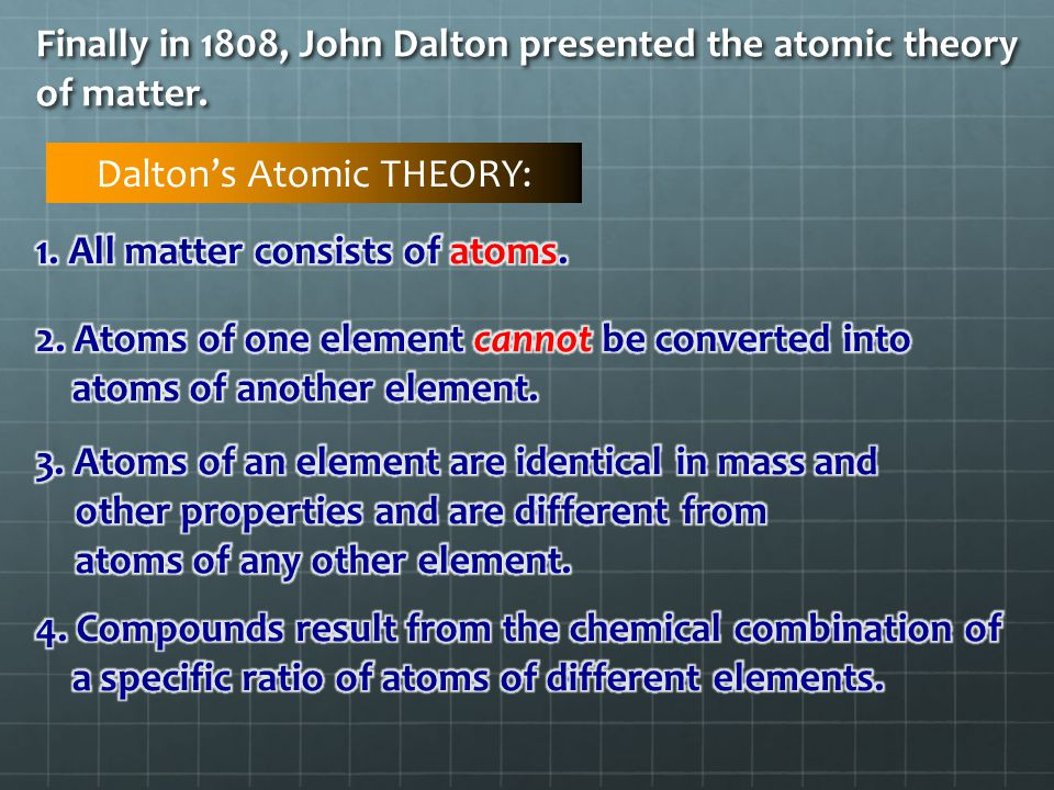 the explanations to the different atomic theories Development of the atomic theory atom theory - a unifying explanation for a broad range of hypotheses and observations that have been supported by testing material and in different shapes and sizes he thought that atoms were always.
