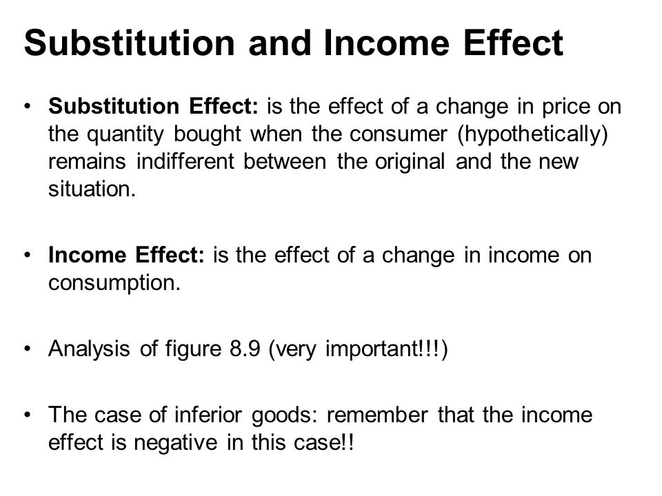 substitution and income effect Income and substitution effect on consumption consider a utility function of the  following form: u(c&) φ c$- & 1 σ for 0  σ  1, the intertermporal elasticity of.
