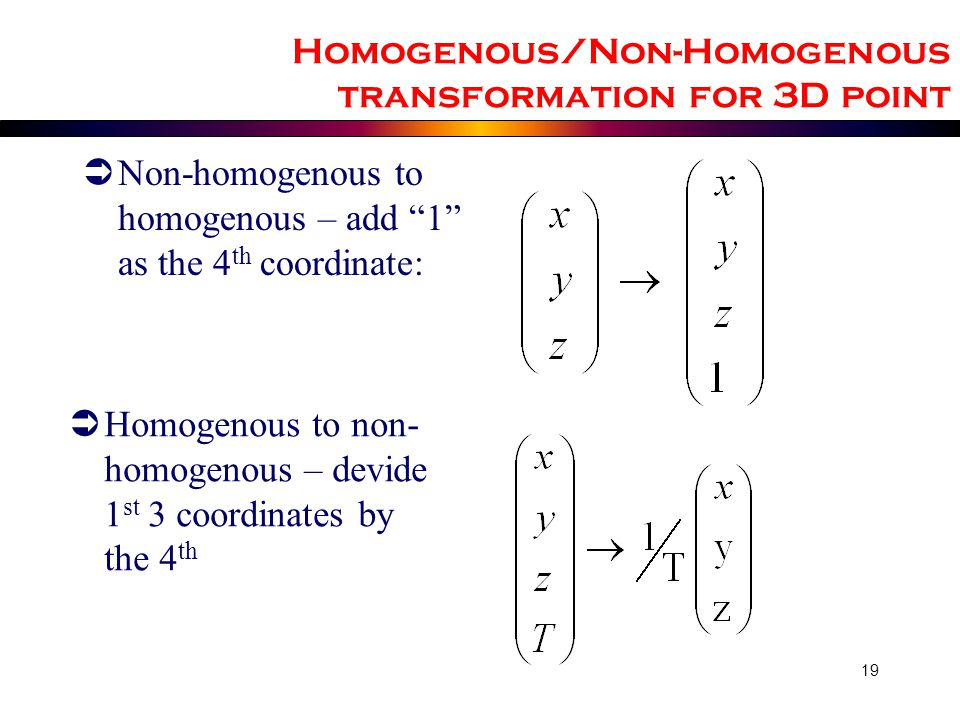 Homogenous/Non-Homogenous transformation for 3D point