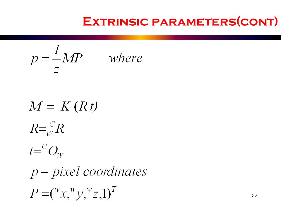 Extrinsic parameters(cont)