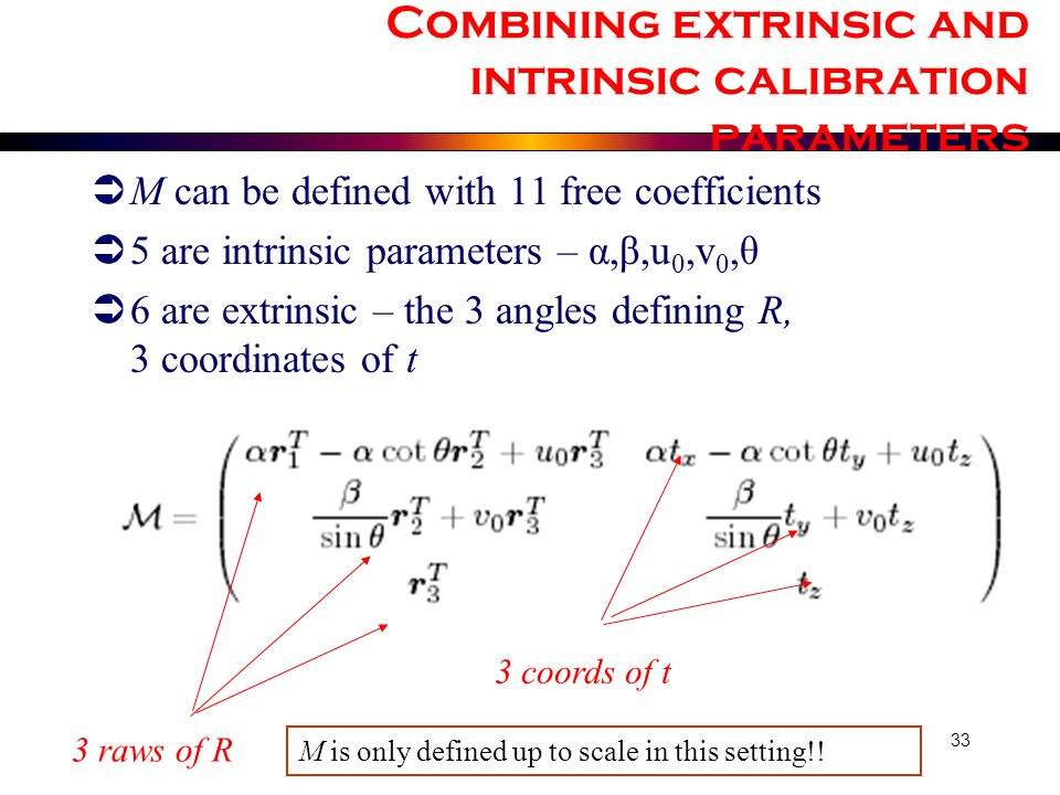 Combining extrinsic and intrinsic calibration parameters