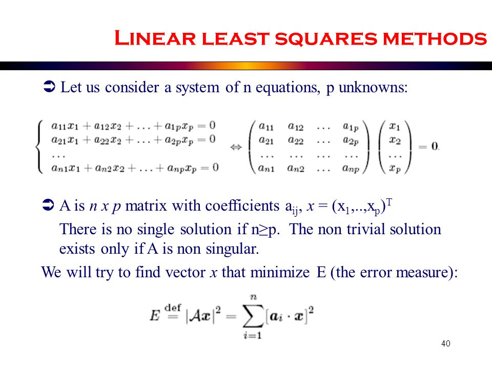 Linear least squares methods