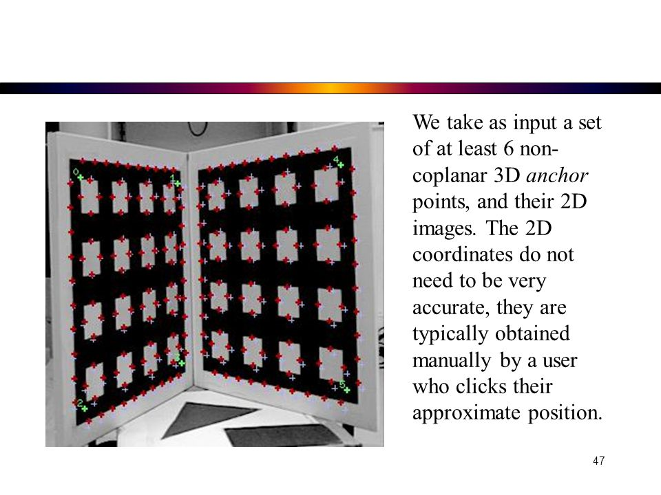 We take as input a set of at least 6 non-coplanar 3D anchor points, and their 2D images.