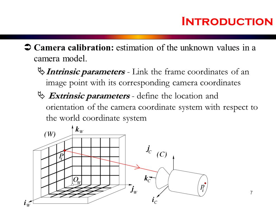 Introduction Camera calibration: estimation of the unknown values in a camera model.