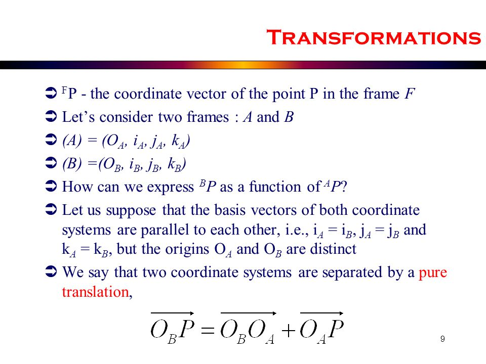 Transformations FP - the coordinate vector of the point P in the frame F. Let's consider two frames : A and B.