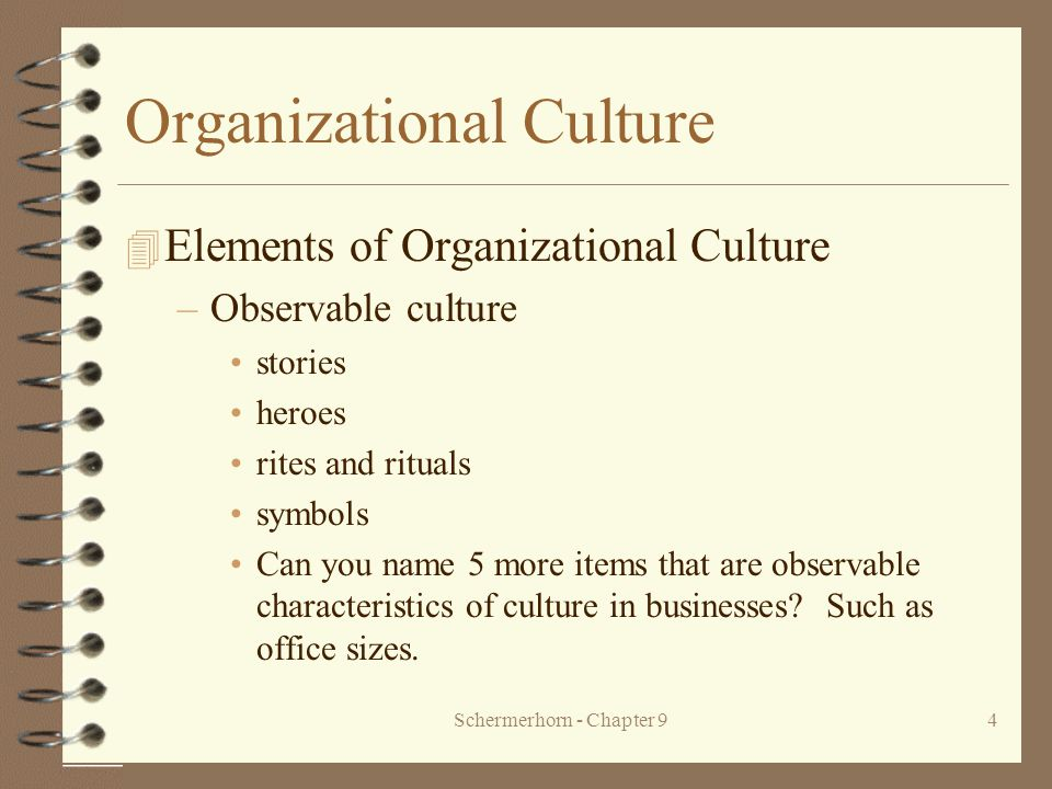 four elements of organizational behavior There are only two main ways to build an organizational culture: either with   quarters usually under high stress and behaviors can have long and lasting  effects)  4 measure it once we've identified the key elements of our desired  culture.