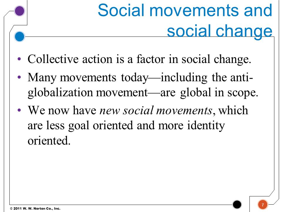 understanding a social movement and its goals of social change For social discontent to translate into social movement, members of the society must feel that they deserve, or have a right to, more wealth, power, or status than they have the dissatisfied group must also conclude that it cannot attain its goals via conventional methods, whether or not this is the case.