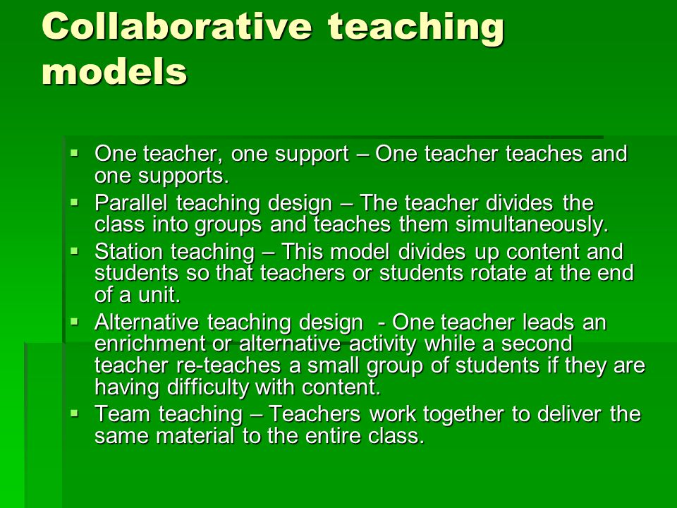 Collaborative Teaching Models : Inclusion ppt download