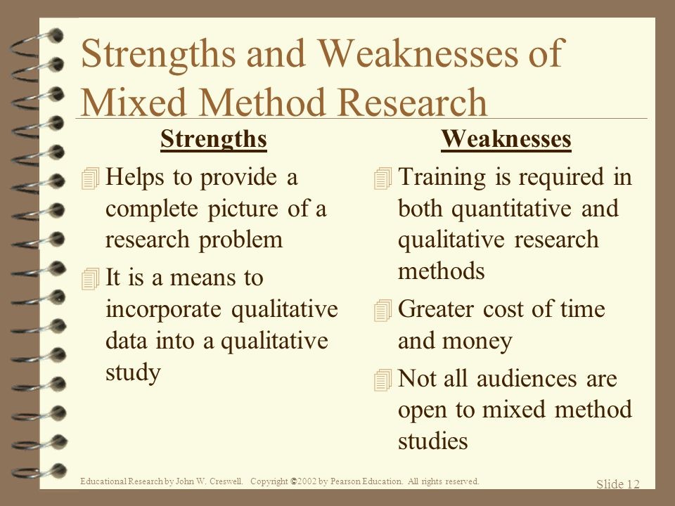 Strengths and Weaknesses of Mixed Method Research
