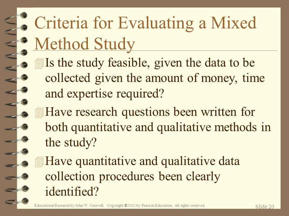 Criteria for Evaluating a Mixed Method Study