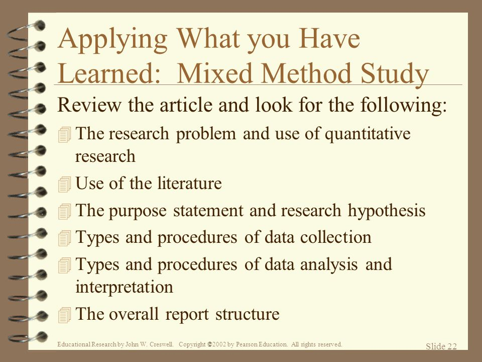 Applying What you Have Learned: Mixed Method Study