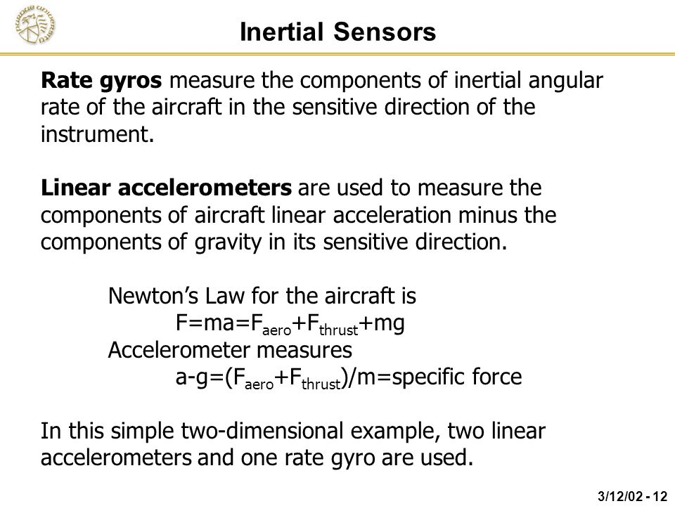 Inertial Sensors Rate gyros measure the components of inertial angular rate of the aircraft in the sensitive direction of the instrument.