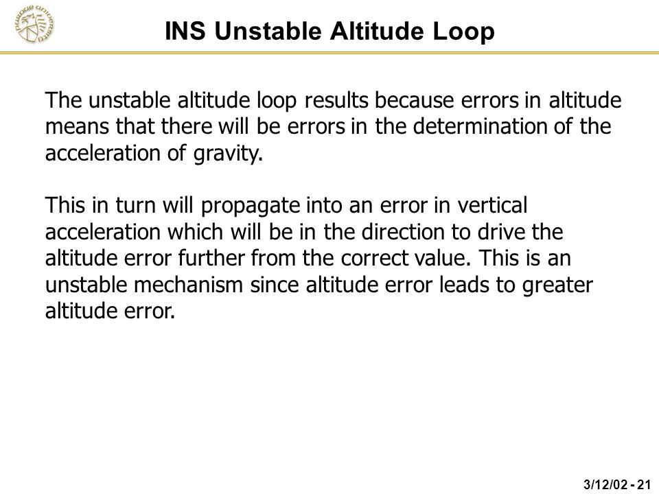 INS Unstable Altitude Loop