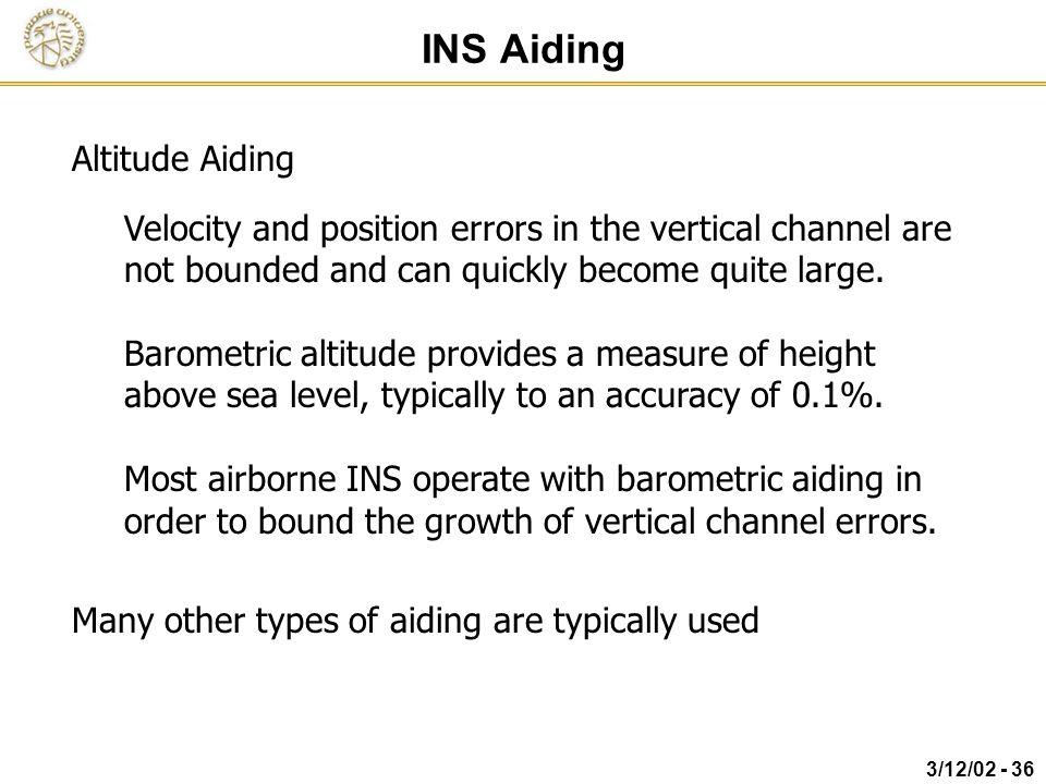 INS Aiding Altitude Aiding