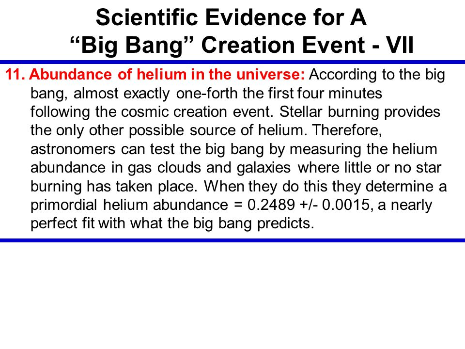 Scientific Evidence for A Big Bang Creation Event - VII