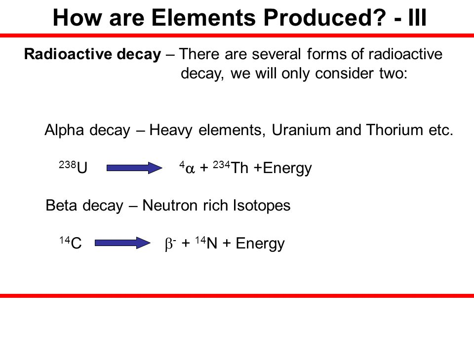 How are Elements Produced - III