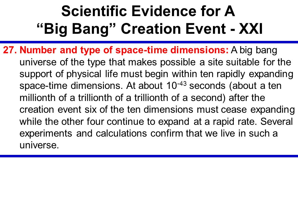 Scientific Evidence for A Big Bang Creation Event - XXI