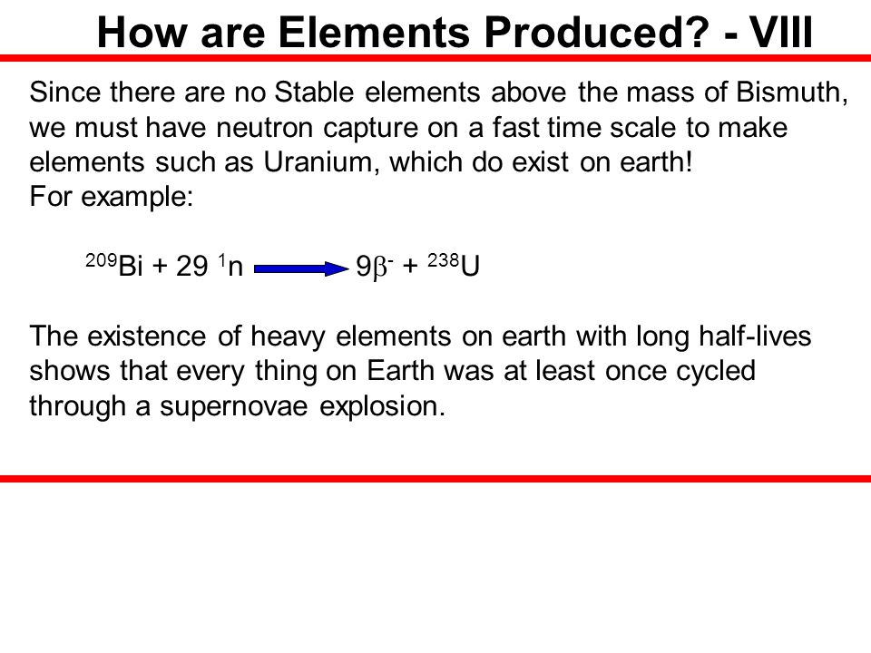 How are Elements Produced - VIII