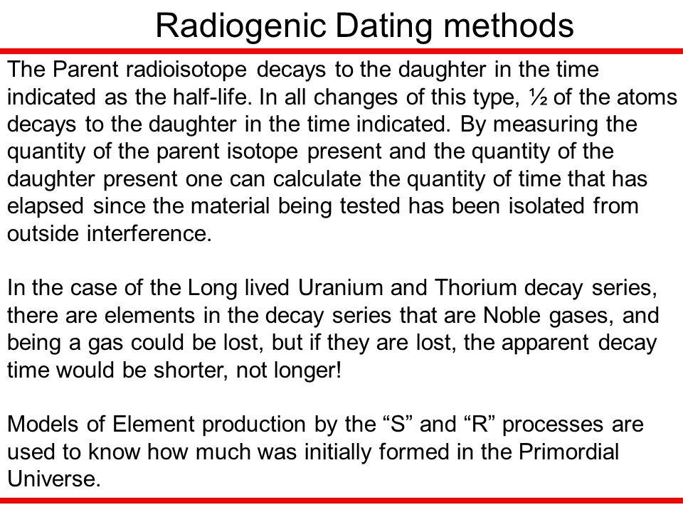 Radiogenic Dating methods