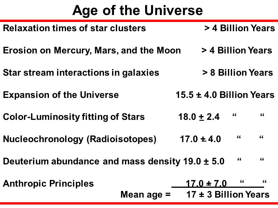 Age of the Universe Relaxation times of star clusters > 4 Billion Years.