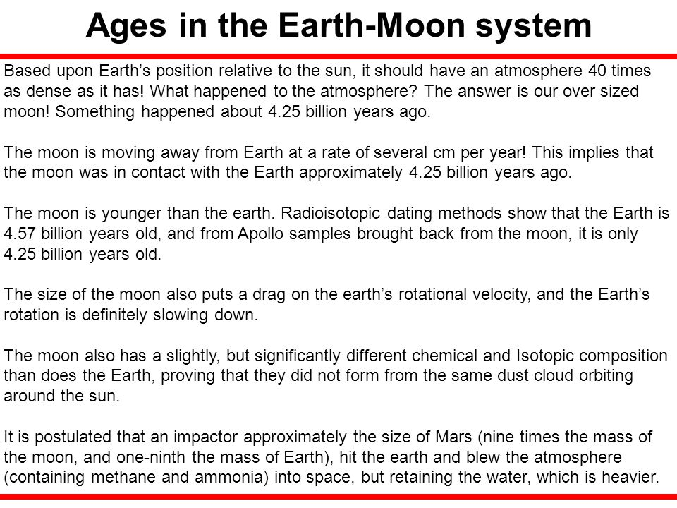 Ages in the Earth-Moon system
