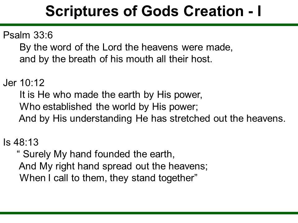 Scriptures of Gods Creation - I