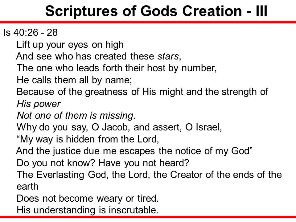 Scriptures of Gods Creation - III