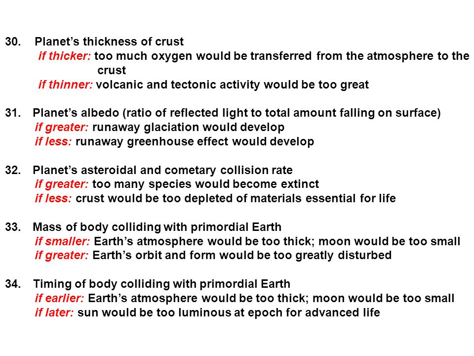 30. Planet's thickness of crust