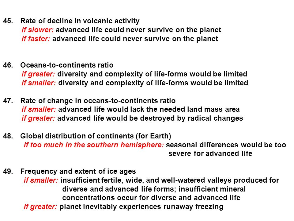 Rate of decline in volcanic activity