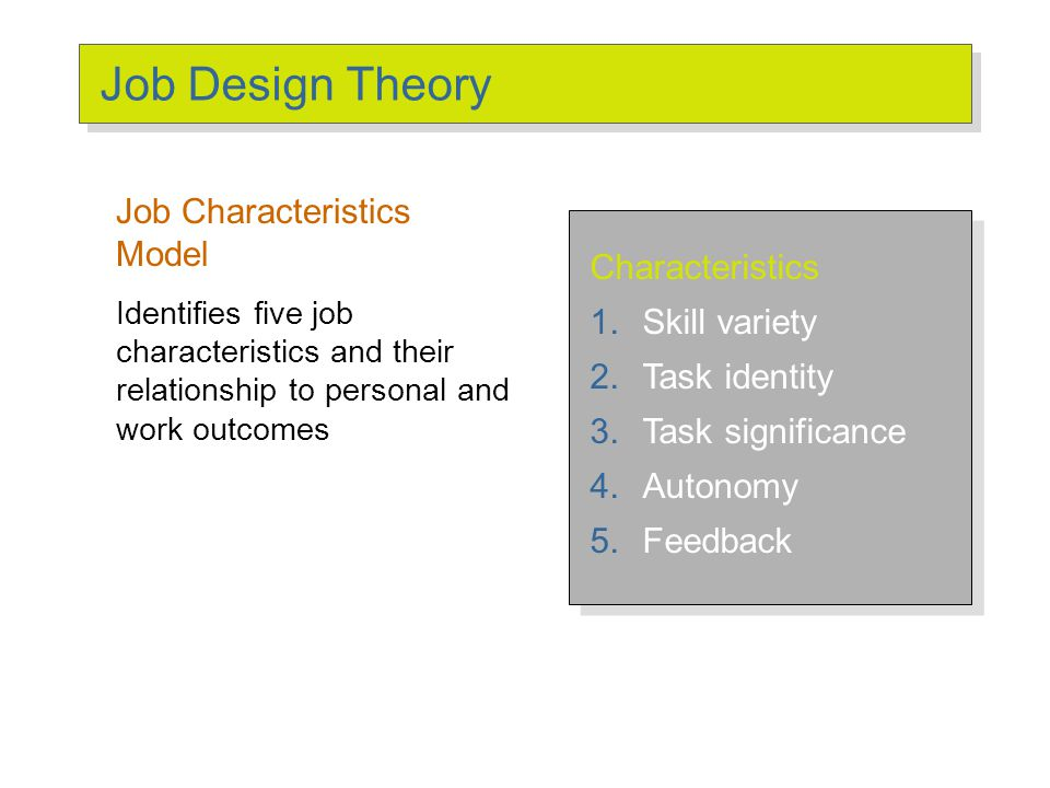 characteristics of job design Therefore, managers and employees alike are finding that understanding the  characteristics of jobs requires broader perspectives than it did in.