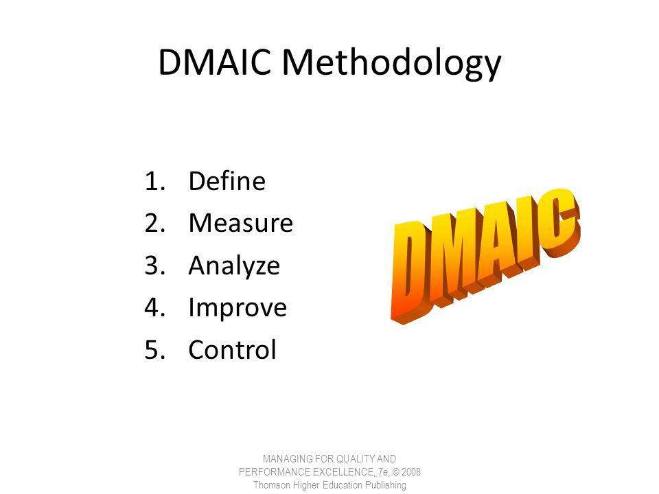 DMAIC Methodology DMAIC Define Measure Analyze Improve Control