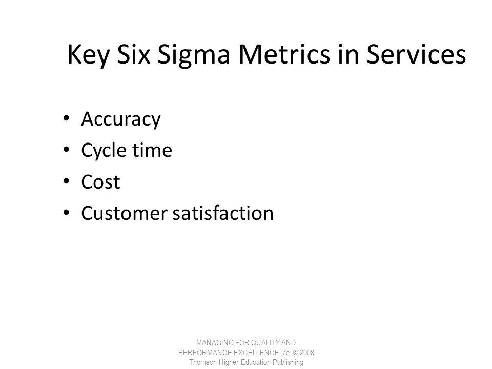 Key Six Sigma Metrics in Services