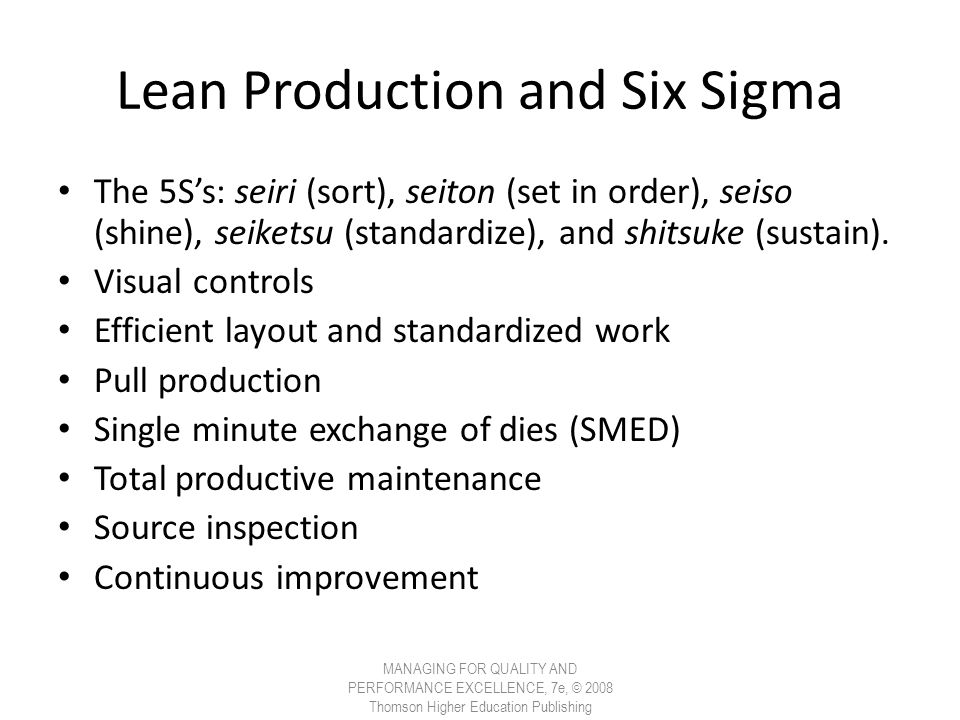 Lean Production and Six Sigma