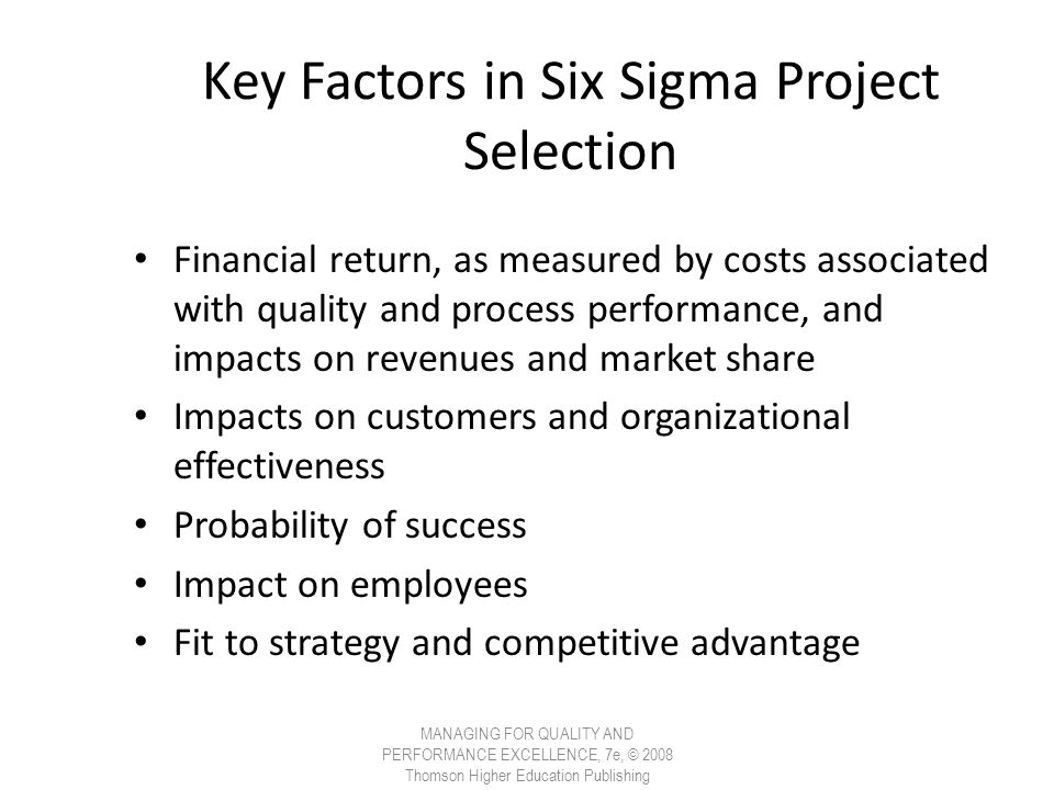 Key Factors in Six Sigma Project Selection