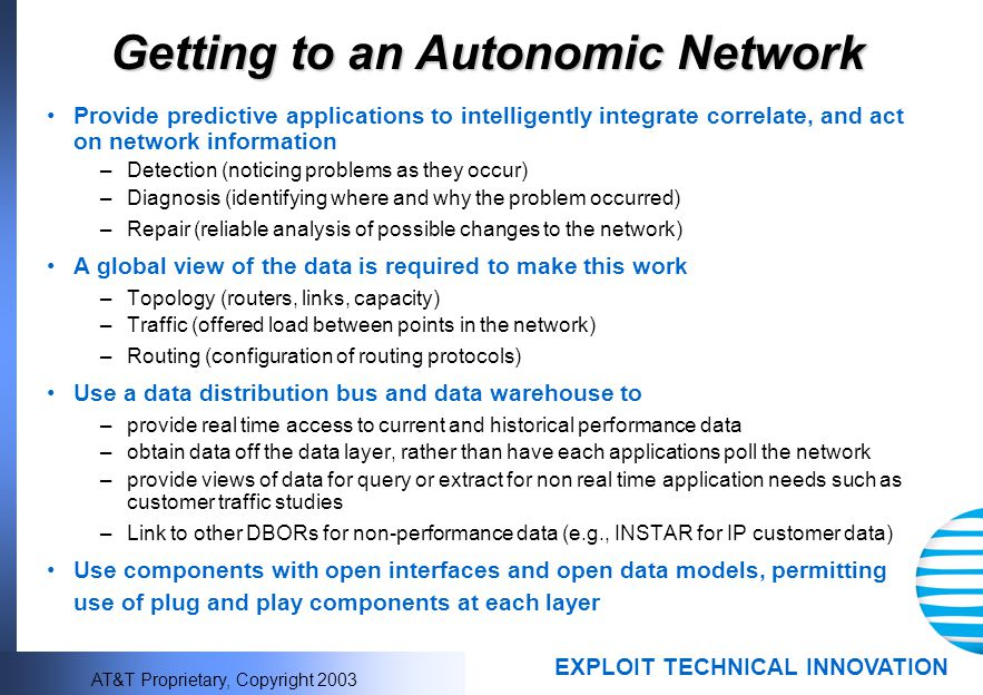 Getting to an Autonomic Network