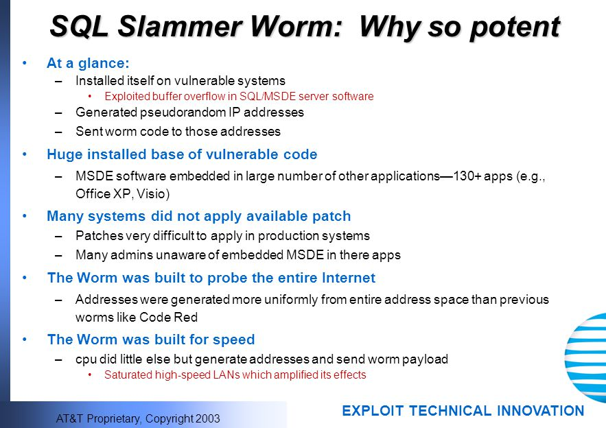 SQL Slammer Worm: Why so potent