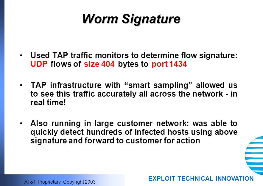 Worm Signature Used TAP traffic monitors to determine flow signature: UDP flows of size 404 bytes to port