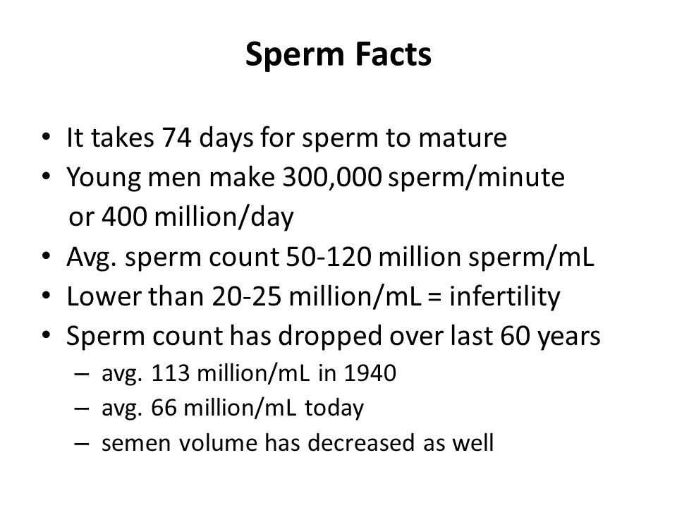 Sperm Facts It takes 74 days for sperm to mature
