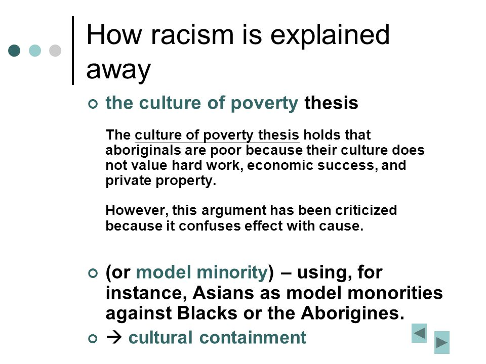 culture of poverty argument