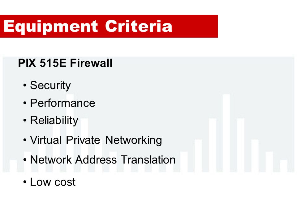 Equipment Criteria PIX 515E Firewall Security Performance Reliability