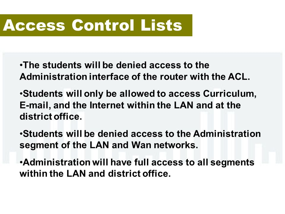 Access Control Lists The students will be denied access to the Administration interface of the router with the ACL.