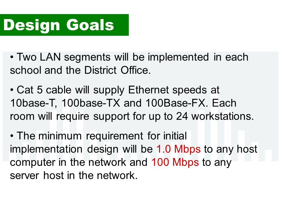 Design Goals Two LAN segments will be implemented in each school and the District Office.
