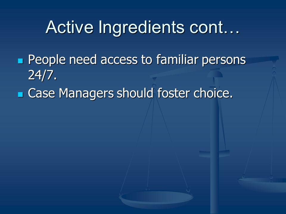 Active Ingredients cont…