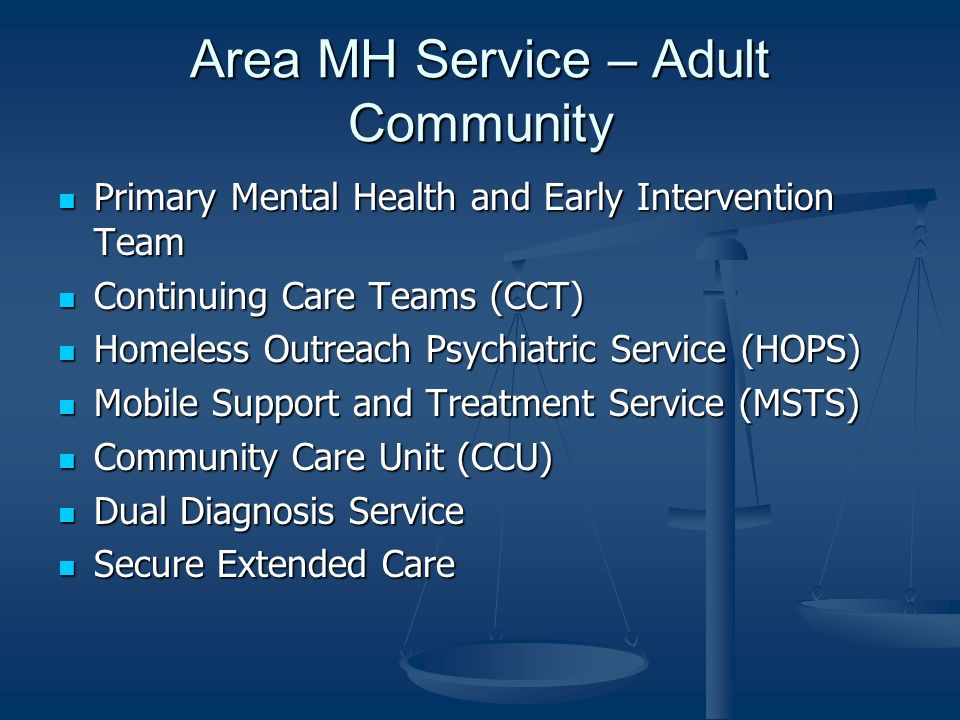 Area MH Service – Adult Community