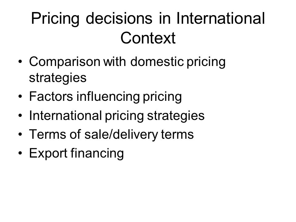 factors affecting international pricing decisions Effects of cultural differences in international business elements of culture that affect international business discusses many factors that encourage.