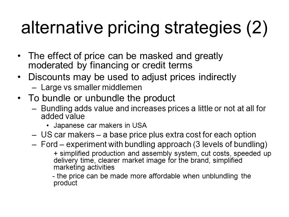 Alternative price increase strategies